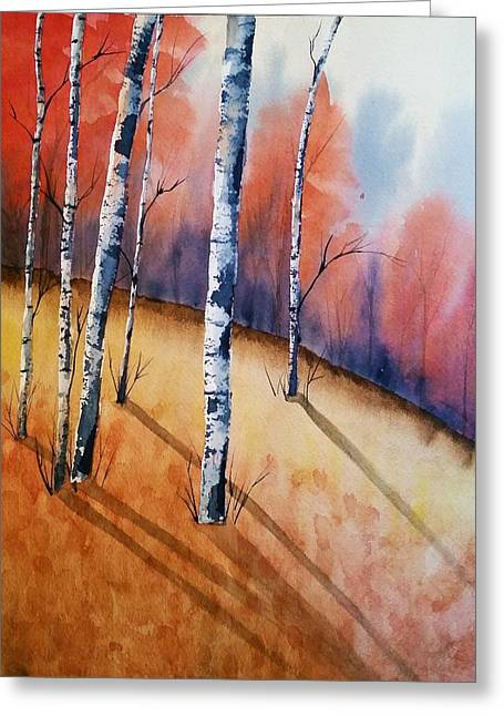 Fall In The Birches Greeting Card