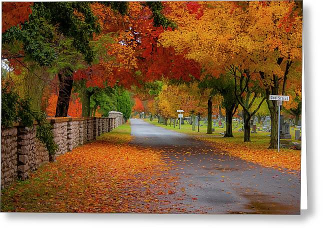 Fall In The Cemetery Greeting Card