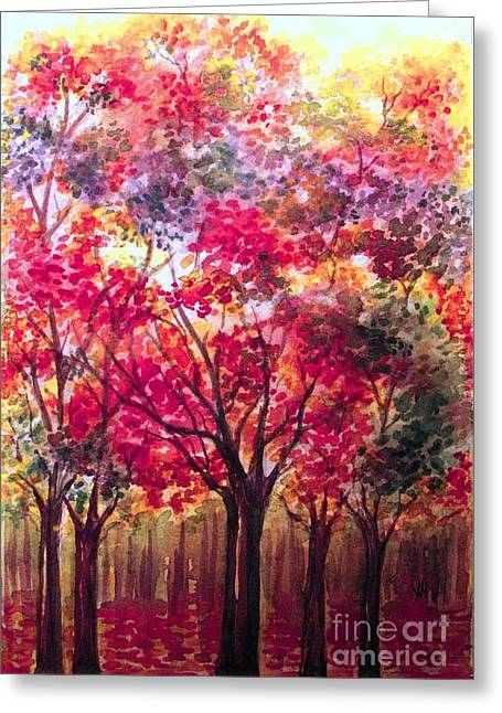 Fall In The Forest Greeting Card by Hazel Holland