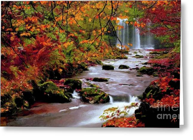 Greeting Card featuring the painting  Fall It's Here by Rosario Piazza
