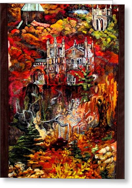 Universities Tapestries - Textiles Greeting Cards - Fall Greeting Card by Kimberly Simon