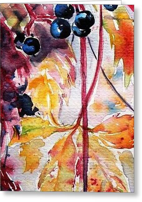 Greeting Card featuring the painting Fall by Kovacs Anna Brigitta