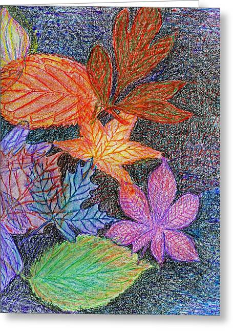 Fall Leave Collage Greeting Card by Cassandra Donnelly