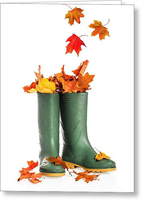 Fall Leaves In Boots Greeting Card by Amanda Elwell