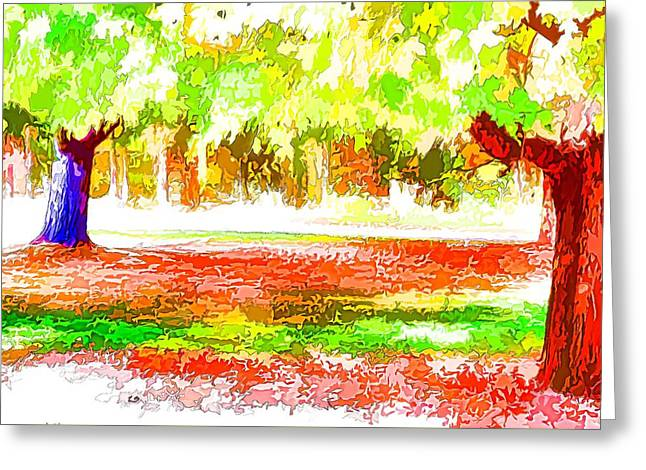 Fall Leaves Trees 2 Greeting Card by Lanjee Chee