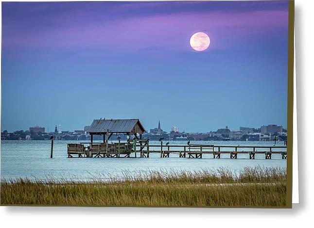 Fall Moon And King Tide - Charleston Sc Greeting Card