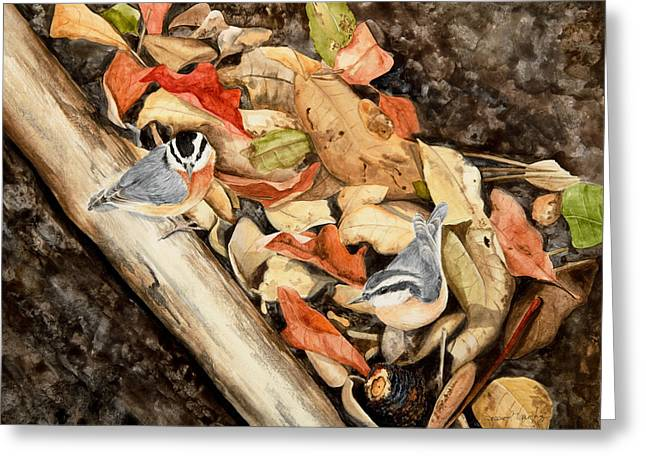 Fall Nuthatch Pair Greeting Card