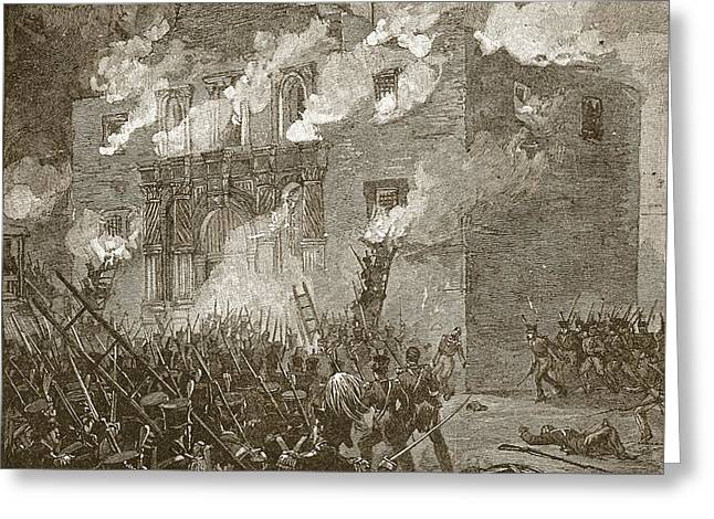 Fall Of The Alamo Greeting Card by Alfred Rudolph Waud