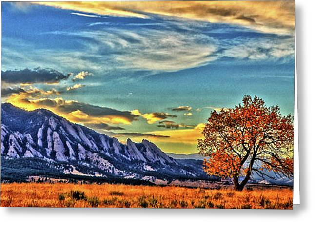 Greeting Card featuring the photograph Fall Over The Flatirons by Scott Mahon