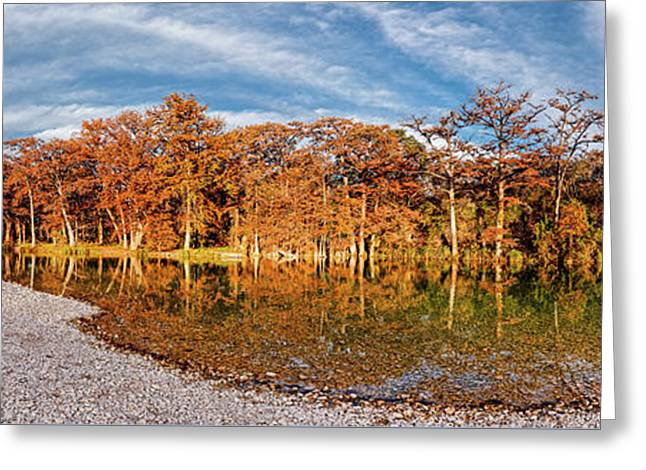 Fall Panorama Of Bald Cypress Along The Frio River At Garner State Park - Texas Hill Country Greeting Card by Silvio Ligutti