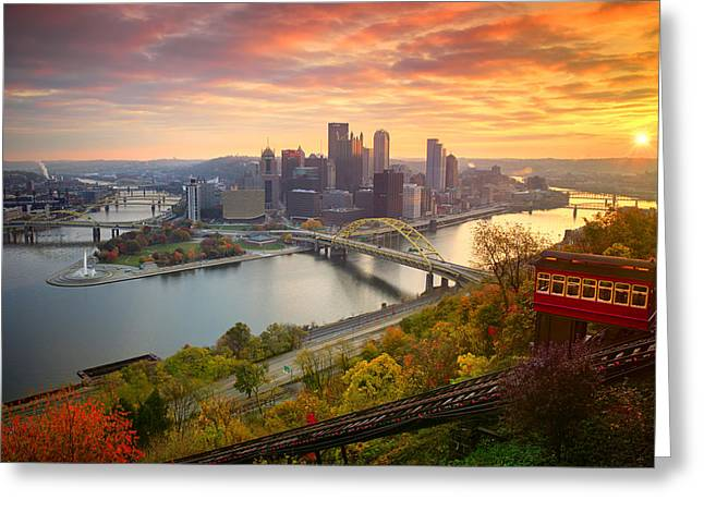 Fall Pittsburgh Skyline  Greeting Card by Emmanuel Panagiotakis
