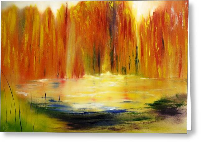 Fall Pond Greeting Card by Larry Ney  II
