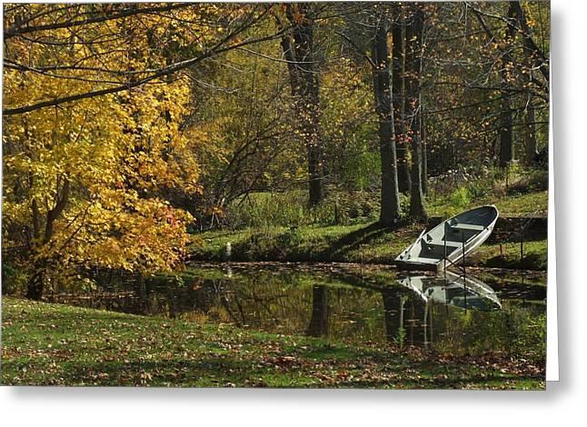 Fall Rowboat Greeting Card by Michael L Kimble