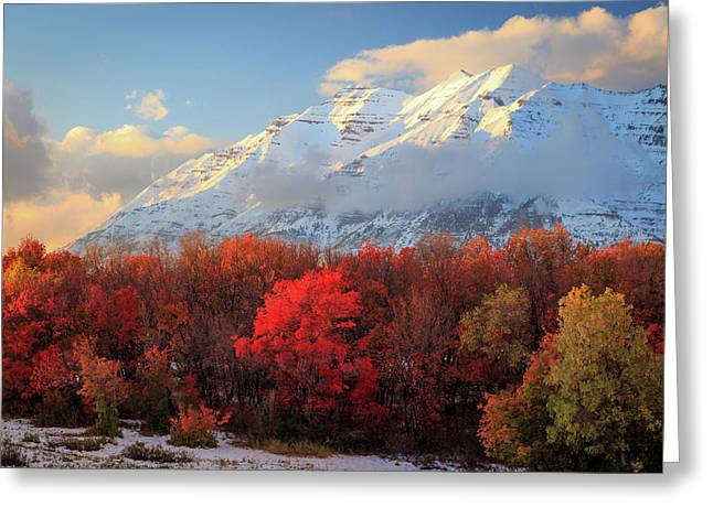 Greeting Card featuring the photograph Fall Snow On Timpanogos. by Johnny Adolphson