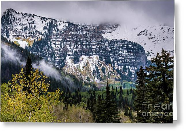 Greeting Card featuring the photograph Fall Storm In Wasatch Mountains - Utah by Gary Whitton
