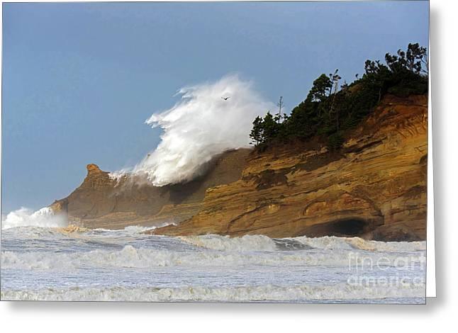 Fall Storm Waves Over Kiwanda Greeting Card by Tim Moore
