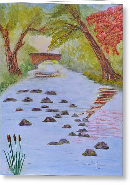 Fall Stream Land Scape Greeting Card by Jonathan Galente
