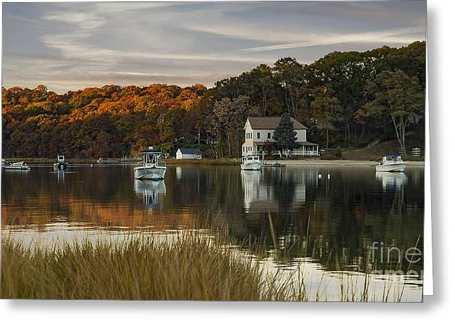 Fall Sunset In Centerport  Greeting Card