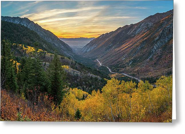 Fall Sunset In Little Cottonwood Canyon Greeting Card