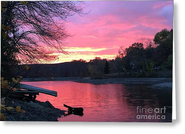Fall Sunset On The Lake Greeting Card