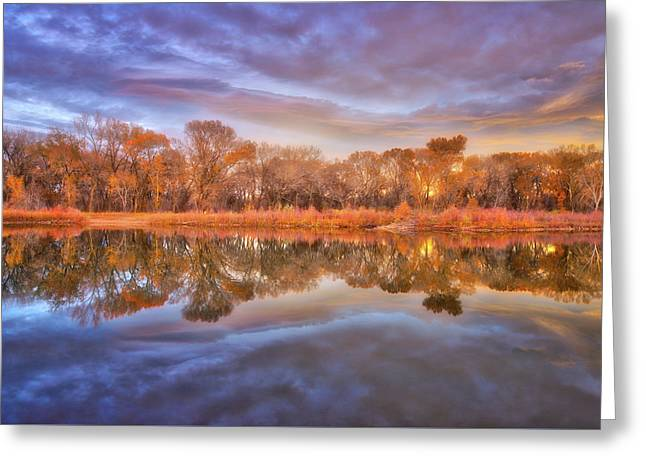 Fall Sunset Over The Pond Greeting Card