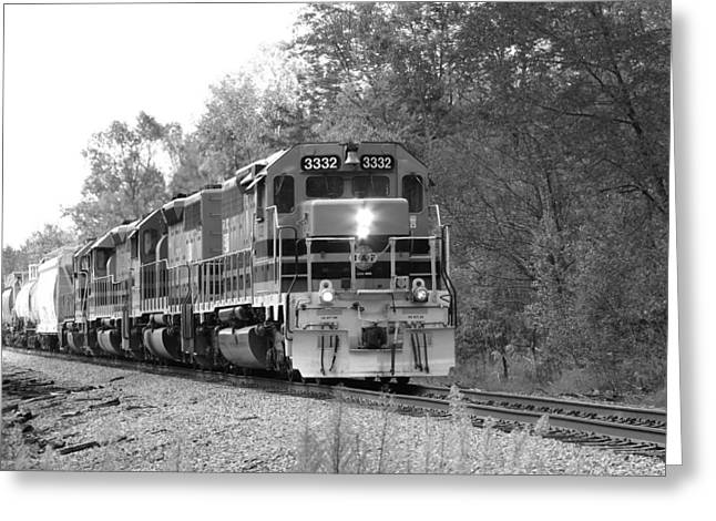 Fall Train In Black And White Greeting Card