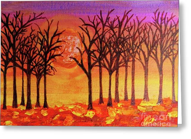 Fall Treeline At Sunset Greeting Card by Desiree Paquette