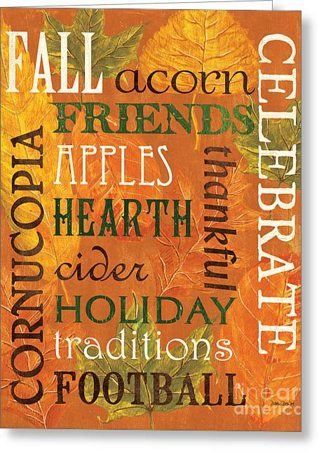 Fall Typography 2 Greeting Card by Debbie DeWitt
