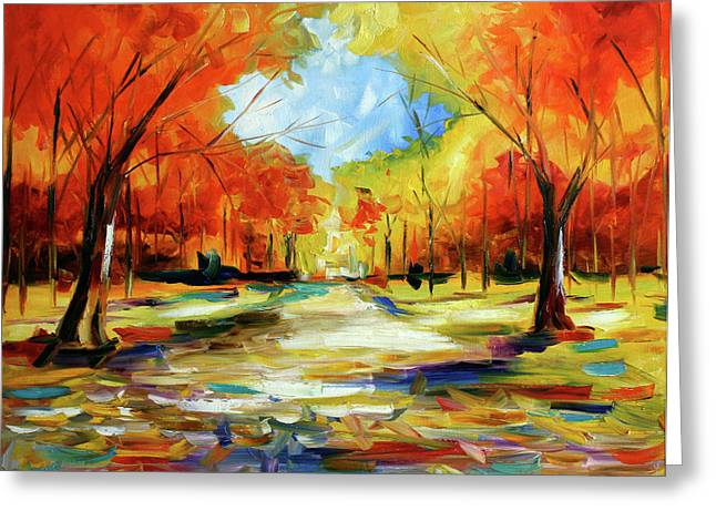 Fall Walk In The Trees Greeting Card