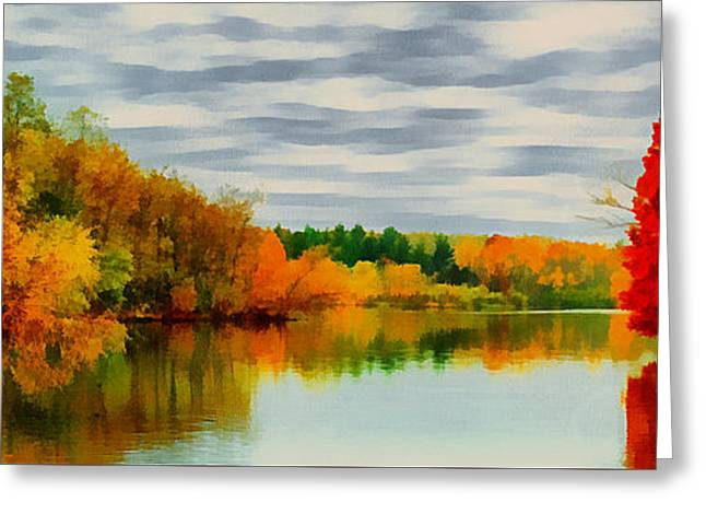 Fall Water Painterly Rendering Greeting Card