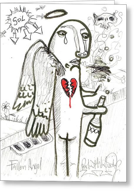 Fallen Angel Greeting Card by Robert Wolverton Jr