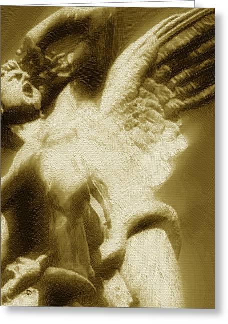 Fallen Angel Vertical Gold Greeting Card