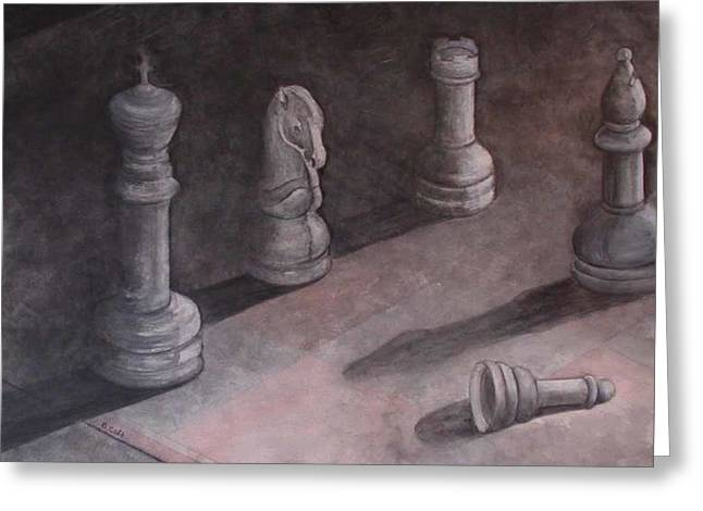 Fallen Chessman Greeting Card by Sandy Clift