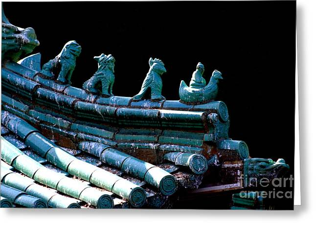 Fallen Guardians Of The Old Palace Greeting Card by Wingsdomain Art and Photography