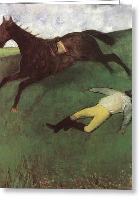 Fallen Jockey Greeting Card by Edgar Degas