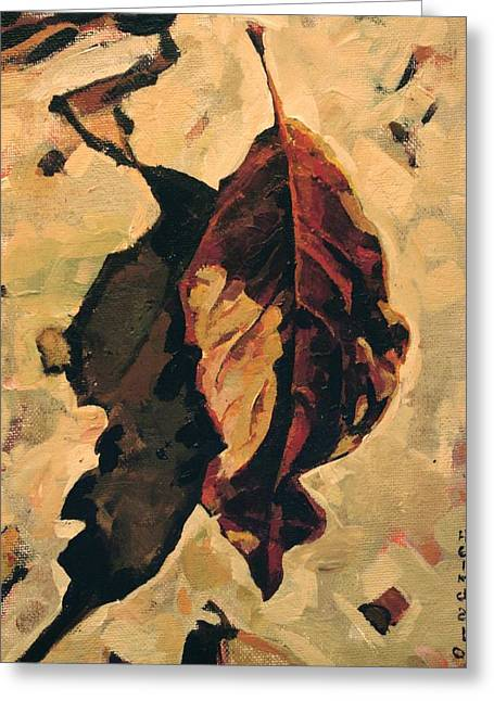 Greeting Card featuring the painting Fallen Leaf by Tim  Heimdal