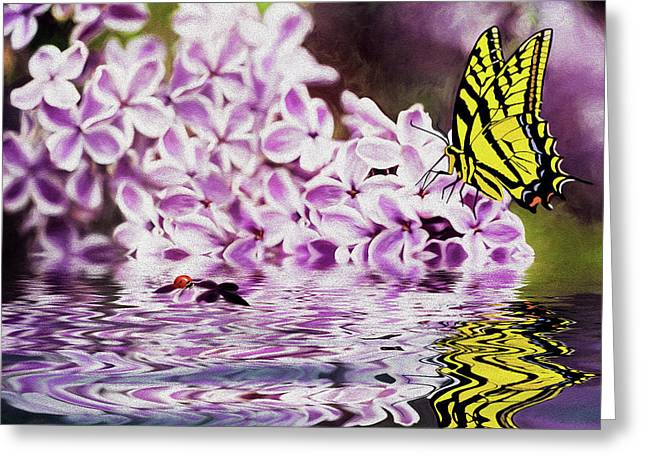 Fallen Lilacs Greeting Card by Diane Schuster