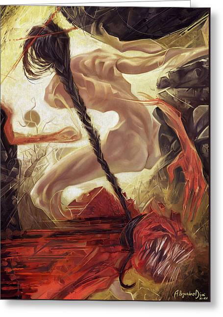 Fallen Queen IIi - Grudge Greeting Card by Alejandro Dini