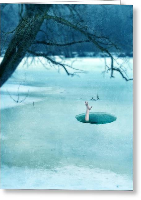 Dangerous In Winter Greeting Cards - Fallen Through the Ice Greeting Card by Jill Battaglia