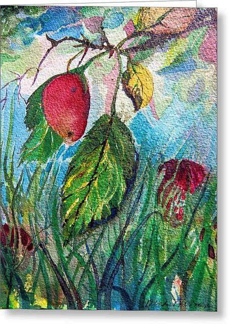 Falling Fruit Greeting Card by Mindy Newman