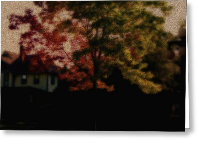 Falling Into Fall From The Past Greeting Card by Martin Morehead
