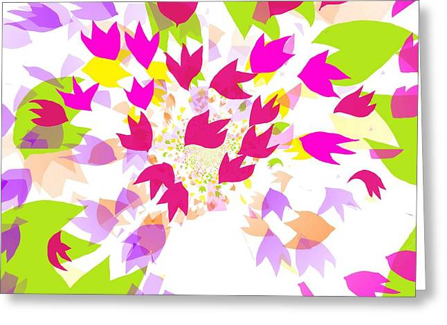 Greeting Card featuring the digital art Falling Leaves by Barbara Moignard