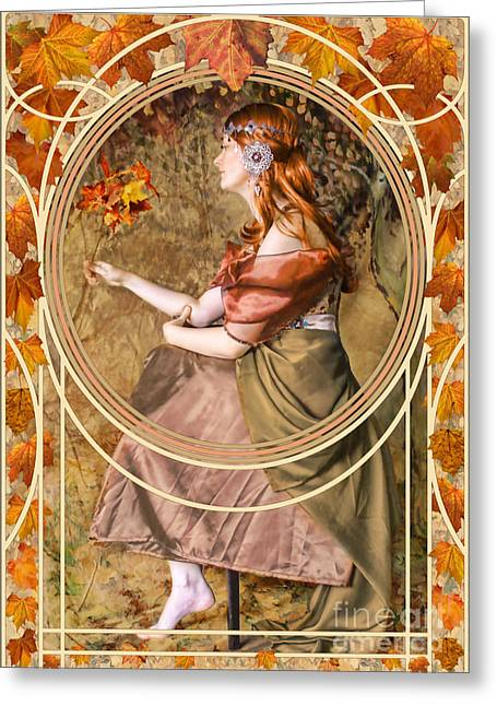 Victorian Greeting Cards - Falling Leaves Greeting Card by John Edwards