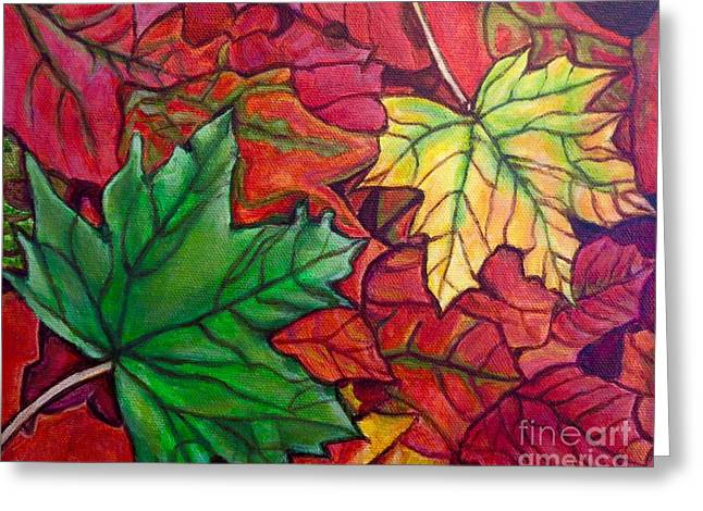 Falling Leaves I Painting Greeting Card by Kimberlee Baxter