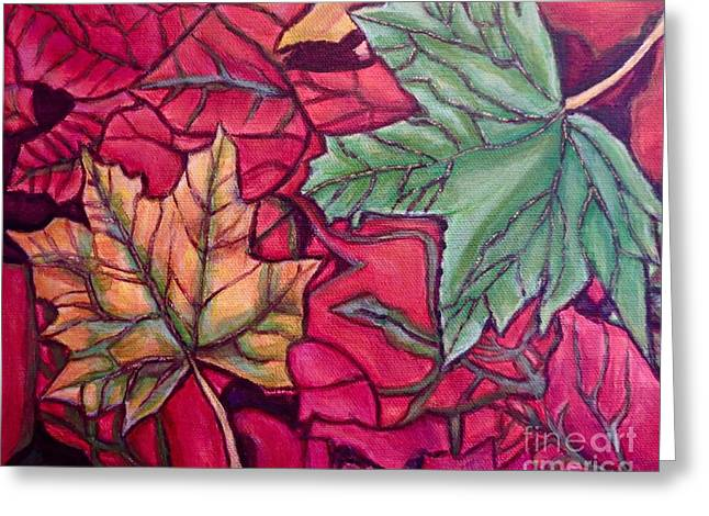 Falling Leaves Two Painting Greeting Card by Kimberlee Baxter