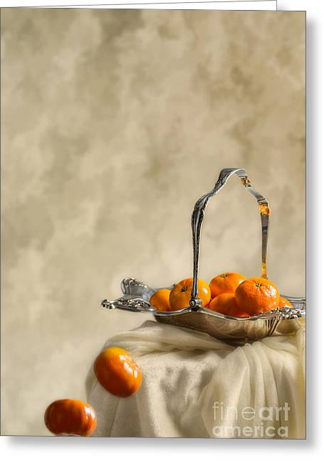 Falling Oranges Greeting Card by Amanda Elwell