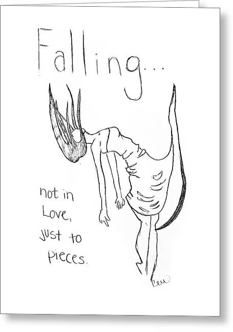 Greeting Card featuring the drawing Falling by Rebecca Wood