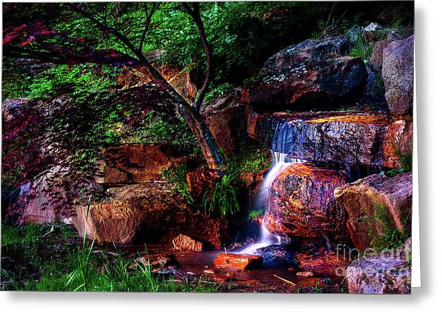 Falling Water At Honor Heights Park Greeting Card by Tamyra Ayles
