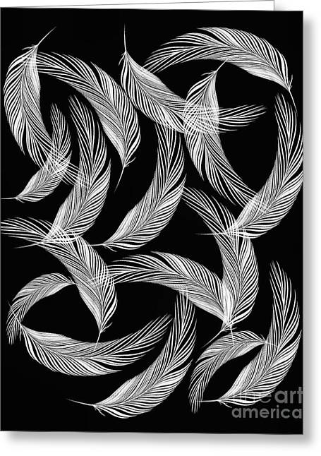 Falling White Feathers Greeting Card