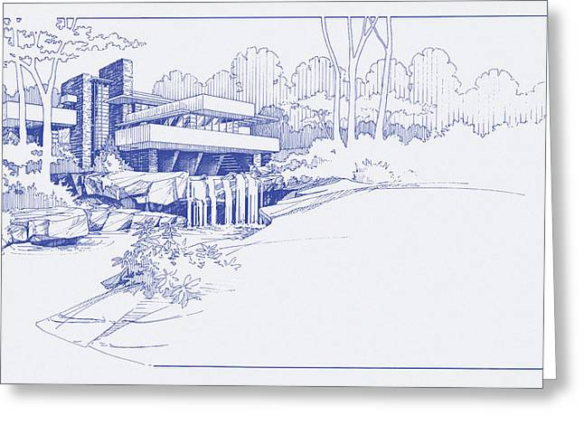 Fallingwater Blueprint Greeting Card